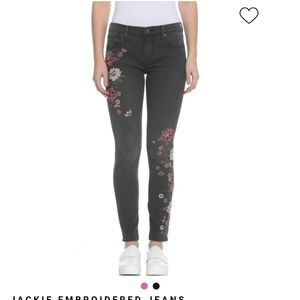 Driftwood jackie black jeans w/ flower embroidery